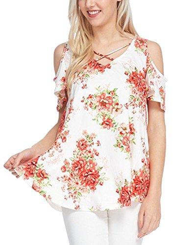 Auxo Damen Schulterfrei V-Ausschnitt Oberteil Blumen Gedrukt Tops Schnürung Minikleid Shirt As Picture EU 42/Etikettgröße L (Blumen-shirt)