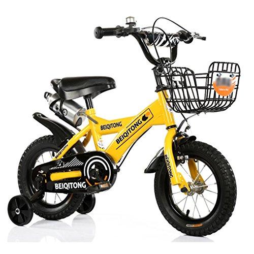 Kinderfahrräder Kinder Fahrrad 12 | 14 | 16 | 18 | 20 Zoll Outdoor Kind Baby Kind Mountainbike Jungen Mädchen Geschenk für 2-11 Jahre alt mit schwarzem Trainingsrad | Eisenkorb | Wasserflasche Safe ( Farbe : Gelb , größe : 14 inches ) (9 Jahre Altes Fahrrad)