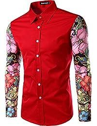 Jeansian Hombres Casual De Primavera Flores Costura Camisas De Manga Larga Camisas Slim Fit Tops 84E2