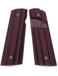 Cool Hand 1911 Magwell G10 Grips pour Pistol Full Size (Gouvernement / commandant), Vis gratuite, Ridges Texture Cerisier Couleur