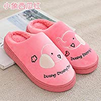 Cotton Slippers For Women,Soft Fluffy Warm Mute Slippers Soft Fluffy Warm Mute Slippers/Cartoon Animal Rose Red Elephant Wide Wear Proof Breathble Washable Slippers /For Women Girl Fall Winter Indoo