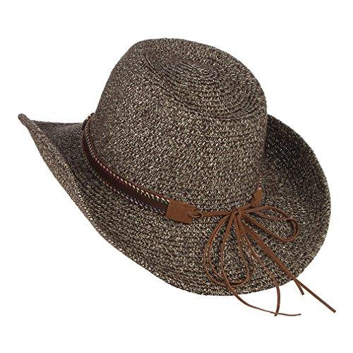 (DEMU Unisex Cowboy Stroh Hüte Formbare Krempe Cowboyhut Strohhut Sonnenhut (Braun))