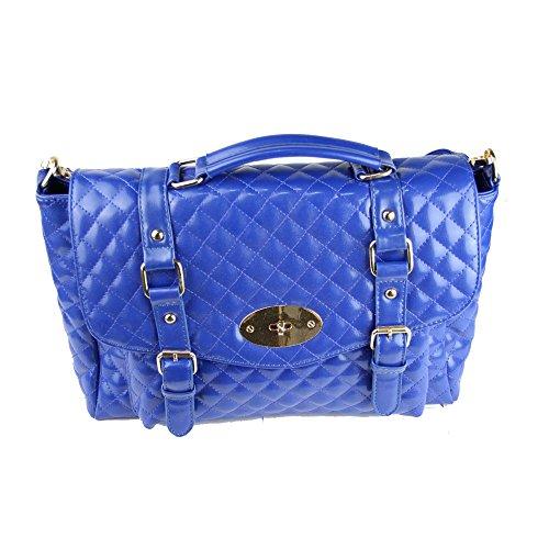 Designer Moda in Pelle Stile Lattice Pattern Borsa Brevetto Borsa A Tracolla blu