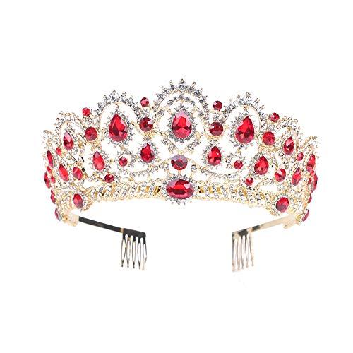 bismarckber Fashion Strass Hochzeit Krone Tiara mit Kamm Stirnband für Frauen Prinzessin Braut Haarschmuck