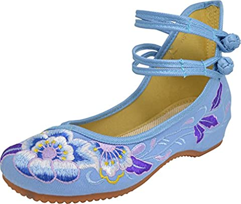 TANG DYNASTY(TM) Chinese Traditional Embroidery Purple Hibiscus Women Flat Shoes Rubber Sole (UK 7.5/EUR 41M/US 10B(M)/10.03''=25.5CM, Blue)