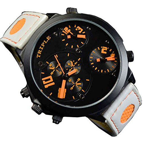 XXL Herrenuhr Triple Timer Schwarz Orange Weiss Retro Mega Retro Design UBoot, XXL Uhr jb-538