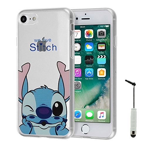 VCOMP® Transparente Silikon TPU Handy Schutzhülle mit Motiv Cartoon Disney für Apple iPhone 5/ 5S/ SE - Winnie the Pooh Stitch + Mini Eingabestift