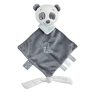 Nattou Mini doudou Panda Loulou con accesorio para el chupete, Lea, Loulou, Lea e Hipólito, 20 x 38, Blanco/Gris oscuro