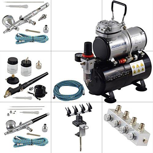 Agora-Tec® Airbrush Komplett-Set PROFI XV.13, inkl. Kompressor mit 4 bar, 20l/min und 3 Liter Tank + 3 Airbrushpistolen mit 0,2 & 0,3 & 0,5 & 0,8mm Nadeln/Düsen + regelbaren 4-fach Luftdruckverteiler + 4-fach-Halter + 3 Schläuche + Adapter