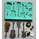 Molde de silicona para guitarra acústica, violín de guitarra eléctrica, notas musicales
