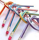 homiki 30pcs coloré souple et flexible Taille-crayons Manche Magic Bend Stylo à rayures pour enfants École Fun équipement
