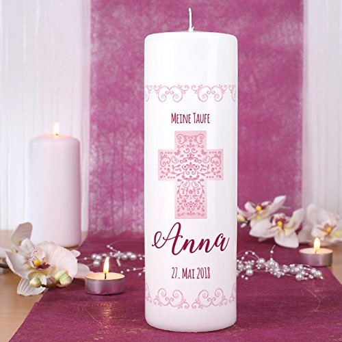 Striefchen® Kerze zur Taufe/Kommunion/Konfirmation/Firmung mit Namen und Datum für Mädchen - 3