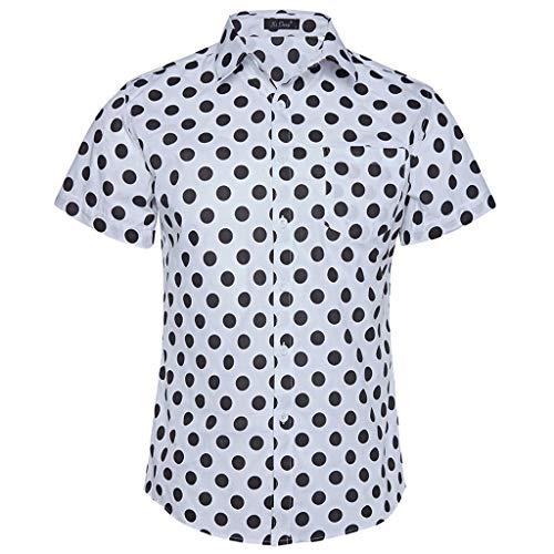 MOIKA Homme Chemises Casual à Pois à Manches Courtes Habillées Business Imprimé Slim Fit Mode Stylish Tee Shirt Blanc Tops Haut T-Shirt Blouse Été Printemps(Blanc,M)