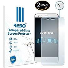 ZTE Blade S6 Plus Protector cristal templado - RE3O® 2 x Protector de pantalla cristal templado vidrio templado para ZTE Blade S6 Plus 5,5'' pulgadas, Borde redondo elegante 2,5D, Fácil de instalar y sin burbujas de aire, Dureza 9H Anti-choque y Resistencia al desgaste a prueba de rasguños, Alta transparencia, Efecto anti-huella digital perfecto