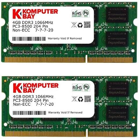 Komputerbay - Modulos de memoria para Apple Mac Mini, 8GB (2 x 4GB) 204 Pin 1066MHz PC3-8500 DDR3 SODIMM