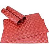 matches21 Tischset Platzset MODERN Platzmatten 4er Set geflochten Kunststoff 45x30 cm Rot / abwaschbar / erhältlich in vielen aufregenden Farben Platzdeckchen vom Tischwäsche Spezialist