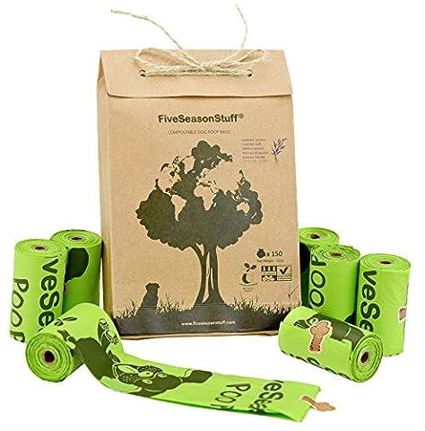 FiveSeasonStuff Leakproof Sacs pour Déjections Canines, Poop Sacs à déchets 100% biodégradable et compostable en 3-5 mois 10 Rouleau (150 Sacs)