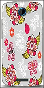 Snoogg Spring Seamless Pattern With Flowers And Ladybirds Designer Protective Back Case Cover For HTC One S