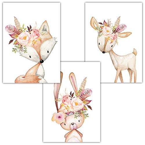 Frechdax® 3er Set Poster DIN A3 ohne Bilderrahmen | Mädchen Junge | Kinderposter Bilder für Kinderzimmer Babyzimmer | Tiermotive Tiere (3er Set Rosa, Blumen, Hase, Fuchs, REH)