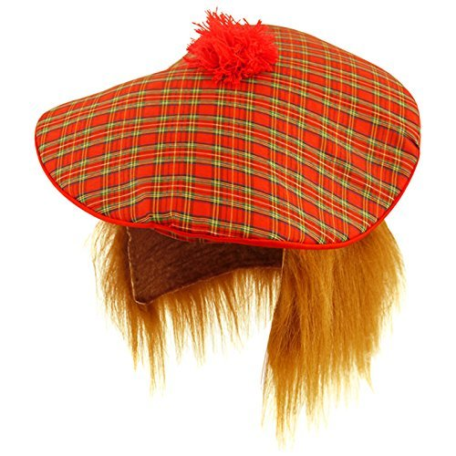 Tartan Tam Hat & Ginger Hair Wig Stag Night Fancy Dress Hat by Star55 ()