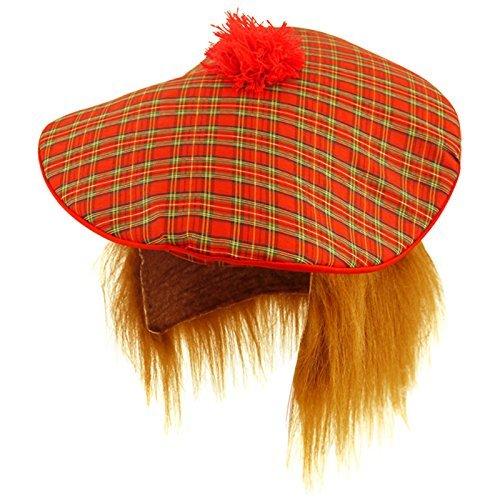 Mens Scottish Scots Tartan Tam Hat & Ginger Hair Wig Stag Night Fancy Dress Hat by Star55