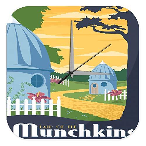 (Wanduhr Nostalgie Land der Munchkins Häuschen Weg Zaun Acryl Dekouhr Vintage Nostalgie)