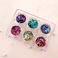 6 Colors Nail Art Decoration Irregular Shell Paper Flake Slice Sequins Fragment 6 Box Beautiful Abalone Shell