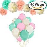 Paxcoo 40pcs Mint Peach Tissue Pom Poms Latex Balloons et Paper Garland pour les décorations pour fêtes de naissance
