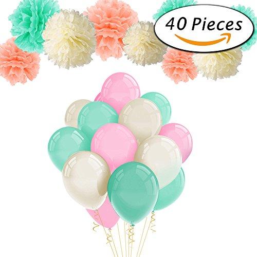 Paxcoo 40pcs Minze Pfirsich Gewebe Pom Poms Latex Ballons und Papier Girlande für Baby Dusche Party Dekorationen