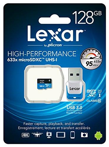 Lexar High-Performance Scheda microSDXC, 128 GB, Velocità fino a 95 MB/s, 633x, UHS-I, con Adattatore USB 3.0