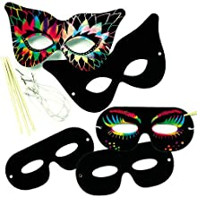 Baker Ross EK2266 Scratch Art Masks (Pack of 10) for Kids to Decorate, Arts & Crafts Activities, Assorted