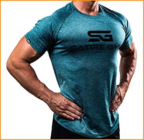 Satire Gym Fitness T-Shirt Herren - Funktionelle Sport Bekleidung - Geeignet Für Workout, Training - Slim Fit (L, Petrol meliert)