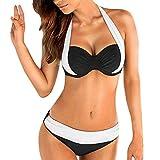 OIKAY Damen Bikini Set Bikini für mollige Bügel Push up Striped Badebekleidung Bikini Oberteil Punkte(Weiß,XL)