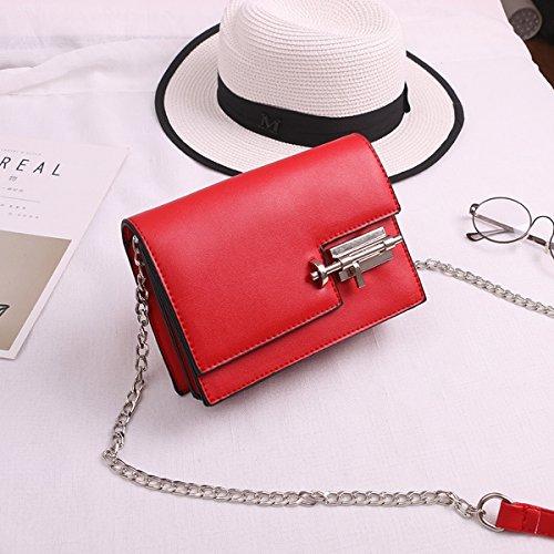 Weibliche modepaket schlagfarbe kleine paketverriegelung kleine quadratische tasche Rot