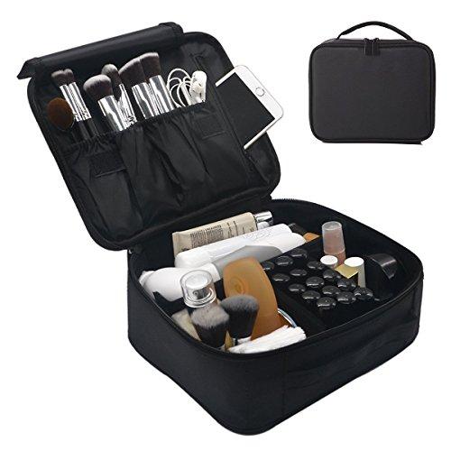 Neceser Maquillaje Caja Belleza Cepillos Herramienta de almacenamiento bolsa organizador Kit Make Up Artist almacenamiento para cosméticos, pinceles de maquillaje, neceser y accesorios de viaje (negro)