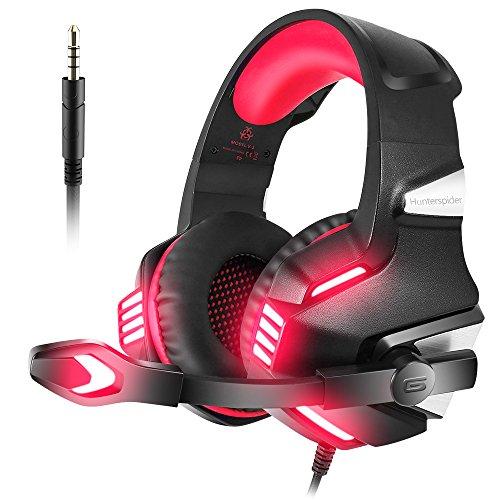 VersionTECH. Auriculares Gaming con Micrófono Aislante,Sonido Envolvente,Luz LED,Volumen Control,Para PC/Tableta/PSP/PS4/Móvil/Xbox One(Rojo)