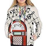 KAKALINQ Women's Hoodie Sweatshirt,Cartoon Antique Old Vintage Radio Music Box Party with Notes Artwork,S