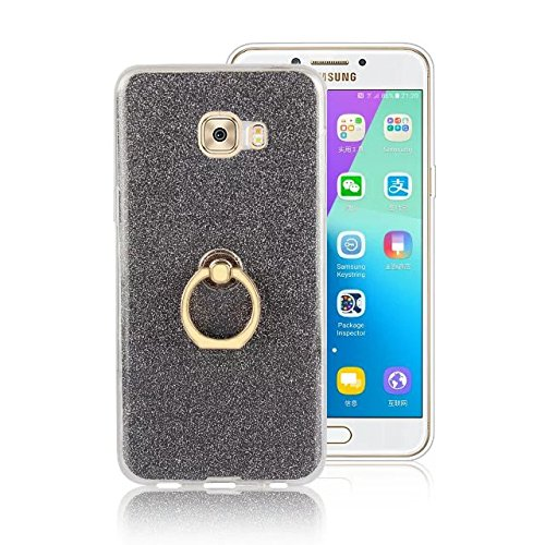 Luxus Bling Sparkle Style Case, Soft TPU [Silikon] Flexible Glitter Back Cover mit Fingerring Stand [Anti Scratch] [Shockproof] für Samsung Galaxy C7 Pro ( Color : Gold ) Black