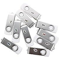SODIAL(R)10 Stueck 2GB USB 2.0 Flash Laufwerk Memory Stick Speicher mit drehbarem Clip - Weiss
