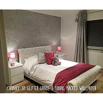 Debona Luxurious Starlight Plain Glitter Texture Silver 10m Wallpaper Roll 9070