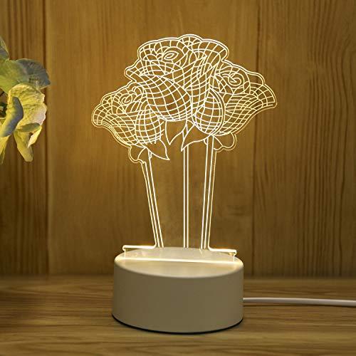 Lampada da notte stereo 3D plug-in mini lampada da tavolo creativa per cartoni animati comodino camera da letto semplice regalo rosa chiaro tocco USB telecomando colorato cintu