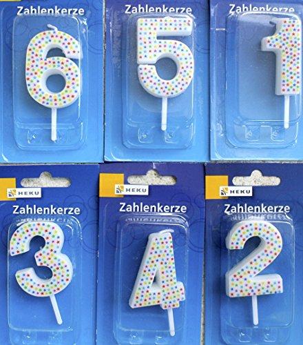 HEKU 766-0 Geburtstagskerze 4,5cm Kerze Tortenkerze Sternchen , Zahl:7