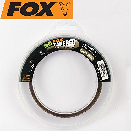 Fox Edges Soft Tapered Leaders Trans Khaki 3 x 12m - Schlagschnur zum Karpfenangeln, Karpfenschnur, Schnur zum Angeln auf Karpfen, Durchmesser/Tragkraft:0.33mm-0.50mm/12lbs-30lbs Tragkraft