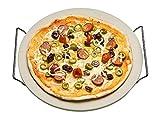 Spetebo Pizzastein mit Gestell 33 cm - Pizza Steinplatte Brot Backstein Backofen Stein Grillstein