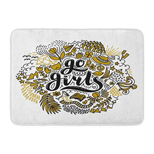 "TEPEED Bath Mat Colorful Go Girls Lettering and Flowers in Black and Gold Power Feminism White Quote Drawing on and Bags Bathroom Decor Rug 15.7"" x 23.6""/40x60cm"