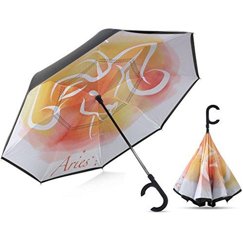 Sunbrella-sonnenschutz (seitenverkehrt Regenschirm mit automatischer Close Funktion von Broni | Rückseite Faltbare großer Regenschirm Winddicht mit Geschenk Box, Aries)