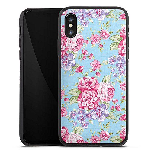 Apple iPhone X Silikon Hülle Case Schutzhülle Retro Frühling Flower Silikon Case schwarz