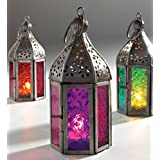 NEW MOROCCAN MINI IRON & GLASS LANTERN (TEA LIGHT HOLDER) HOME & GARDEN (Purple) by Giverny Gifts