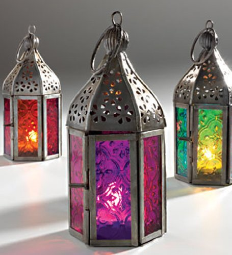 NEW MOROCCAN MINI IRON & GLASS LANTERN (TEA LIGHT HOLDER) HOME & GARDEN (Red) by Giverny Gifts