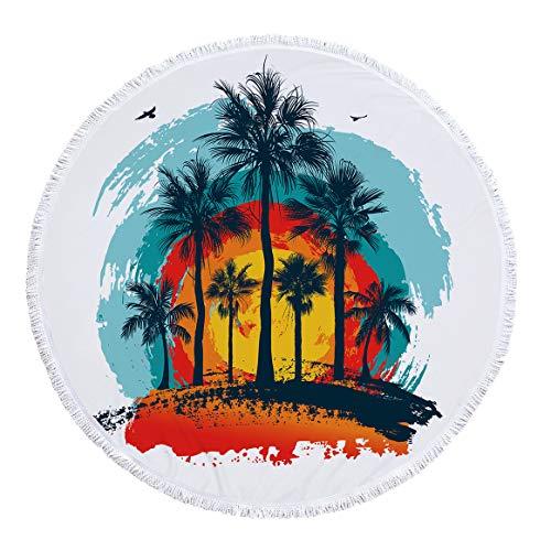 SUYUN Stranddecke, sanddicht, Picknick-Matte - wasserdichtes, weiches, schnell trocknendes Nylon, Übergröße, Strandtuch, Kokosnussbaum, Coconut Tree 24, 30 Grams of Polyester (Pink Ranger Rock)